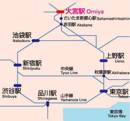 Tokyo to Saitama Map